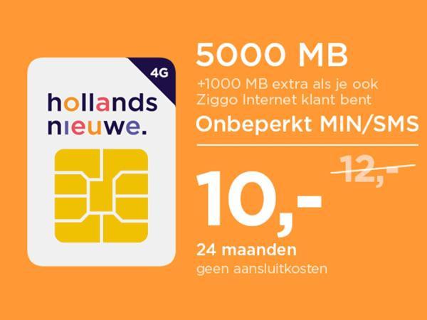 [ING Punten] SimOnly Hollands Nieuwe 5000MB/Onbeperkt MIN/SMS €10 P/M, Ziggo klanten extra voordeel