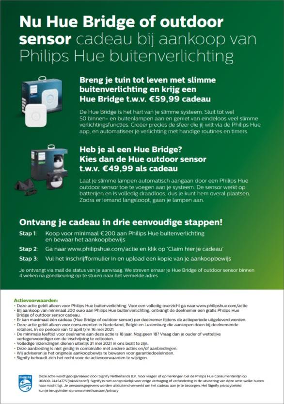 Gratis Hue Bridge of Hue Outdoor sensor bij 200 euro aan besteding outdoor spullen