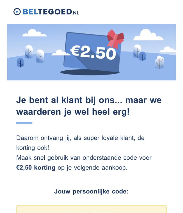€2,50 korting op je eerste bestelling, bijvoorbeeld: ITUNES kaart €15, nu voor €12,50