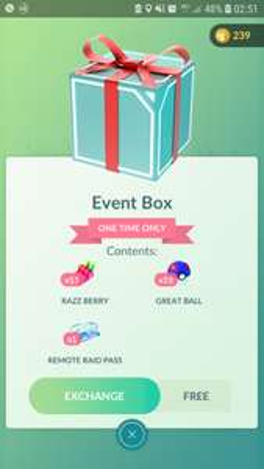 Gratis Pokémon go Event box