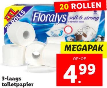 3-laags Floralys Toiletpapier 20 rollen voor €4,99 @Lidl
