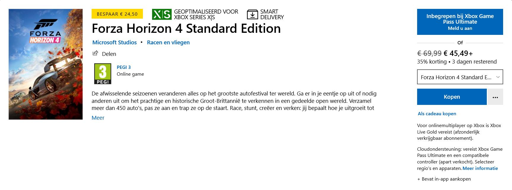 Forza Horizon 4 Standard Edition voor PC/Xbox One/Xbox Series X & S