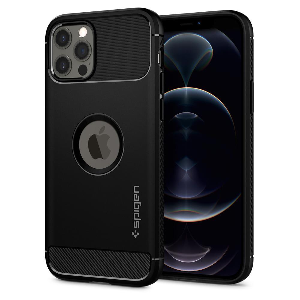 Spigen Rugged TPU Back Cover Apple iPhone 12/12 Pro Zwart @ Belsimpel