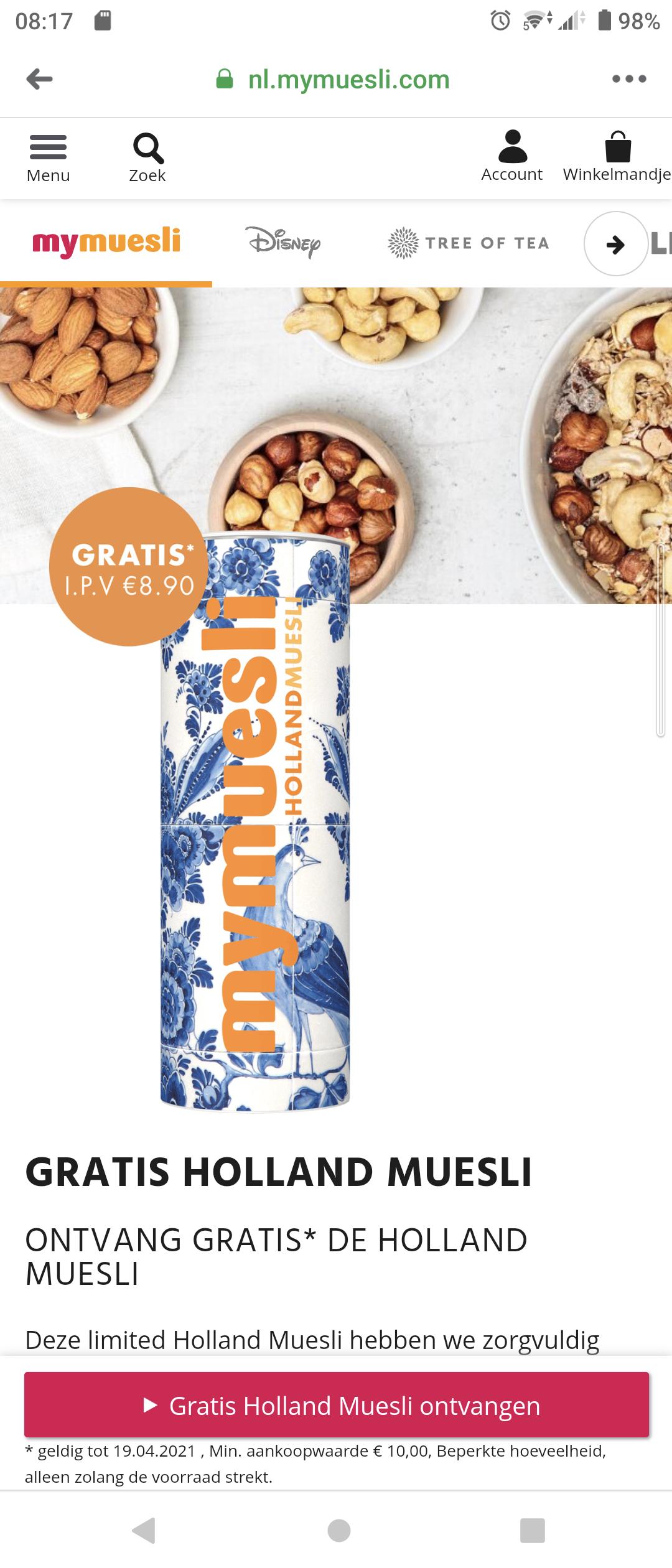 Deze week gratis Holland muesli bij minimale besteding van €10 @ Mymuesli