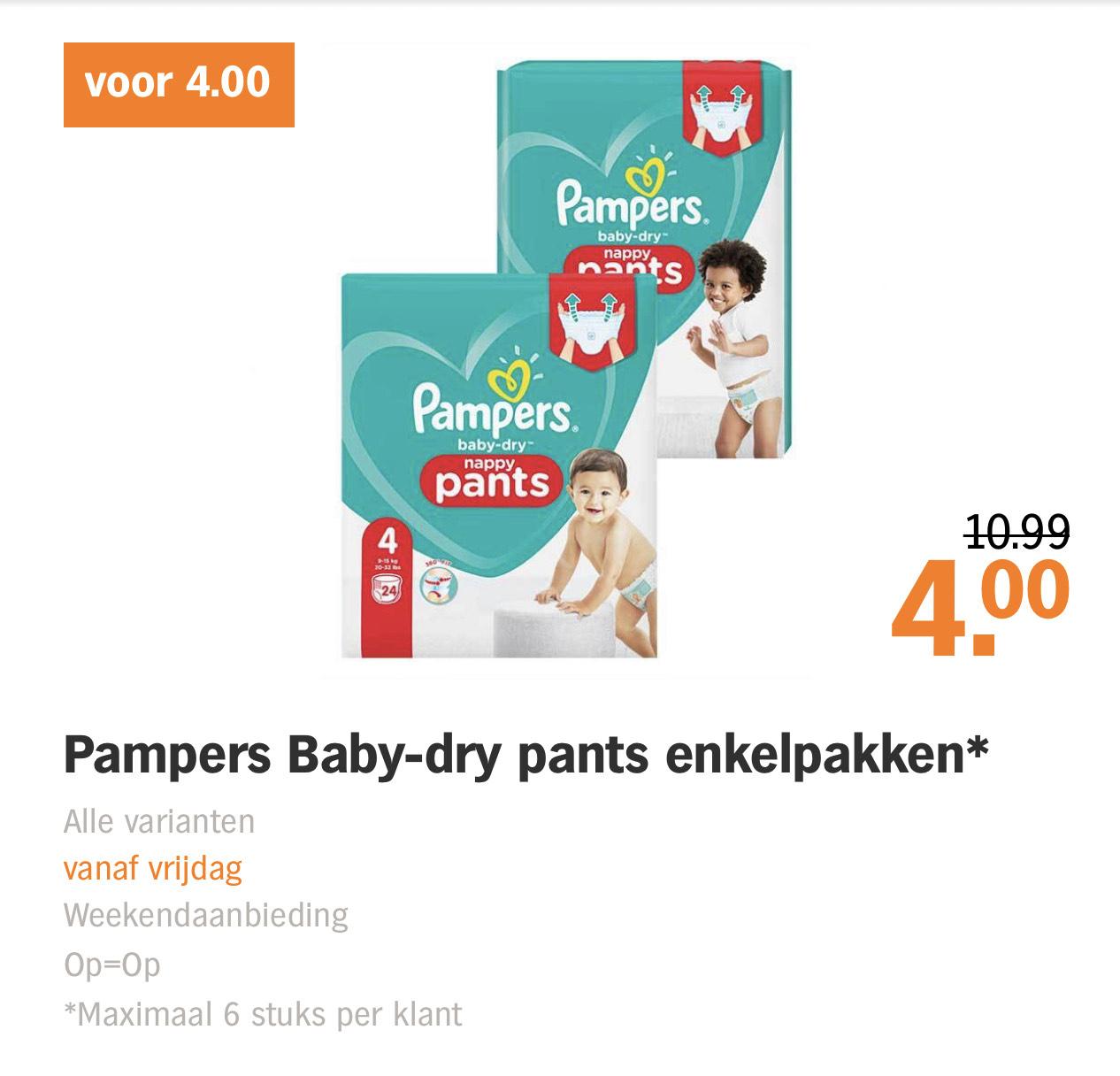 Pampers baby dry pants enkelpakken €4