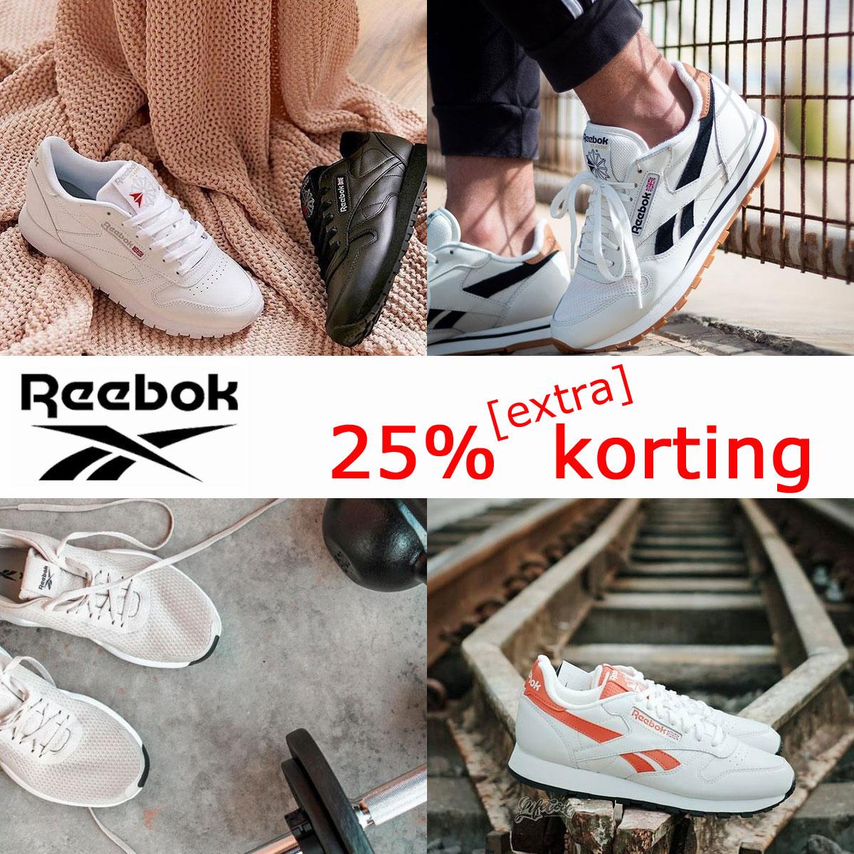 25% korting - ook op OUTLET @ Reebok