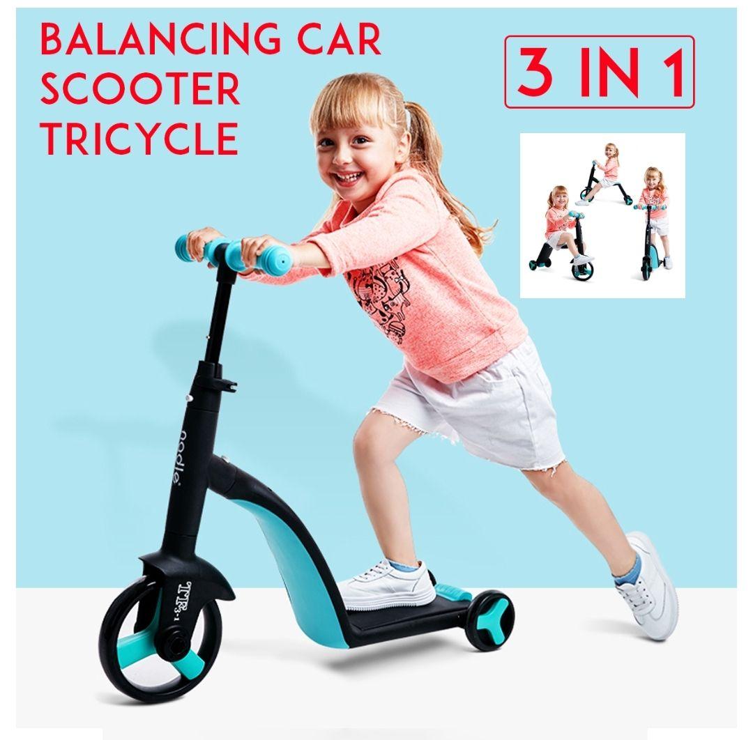 NADLE 3 In 1 in hoogte verstelbare loopfiets, step en fietsje in 1