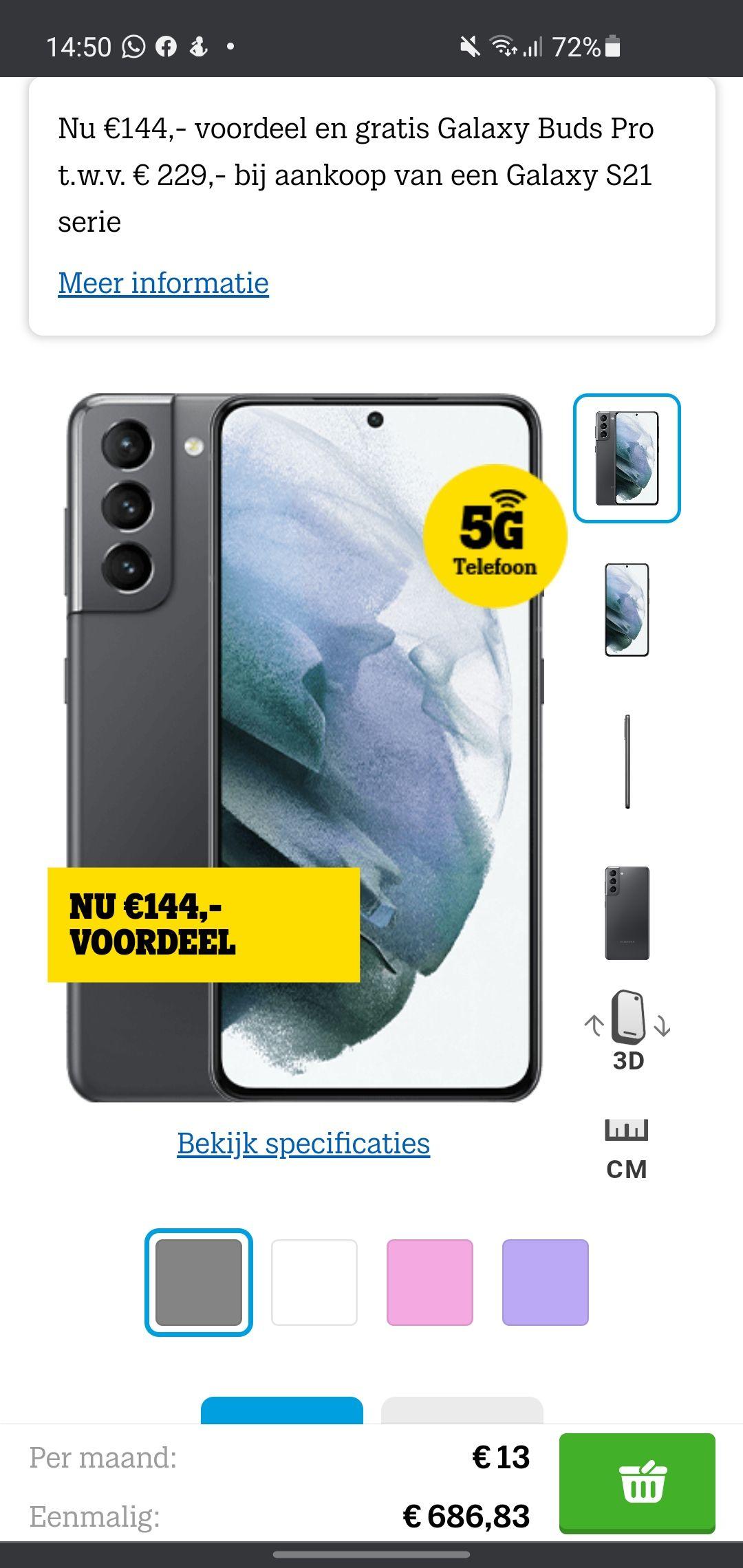 S21 voor €648 met Galaxy buds pro