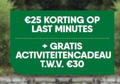 €25 extra korting + €30 activiteitenbon last-minute center parcs