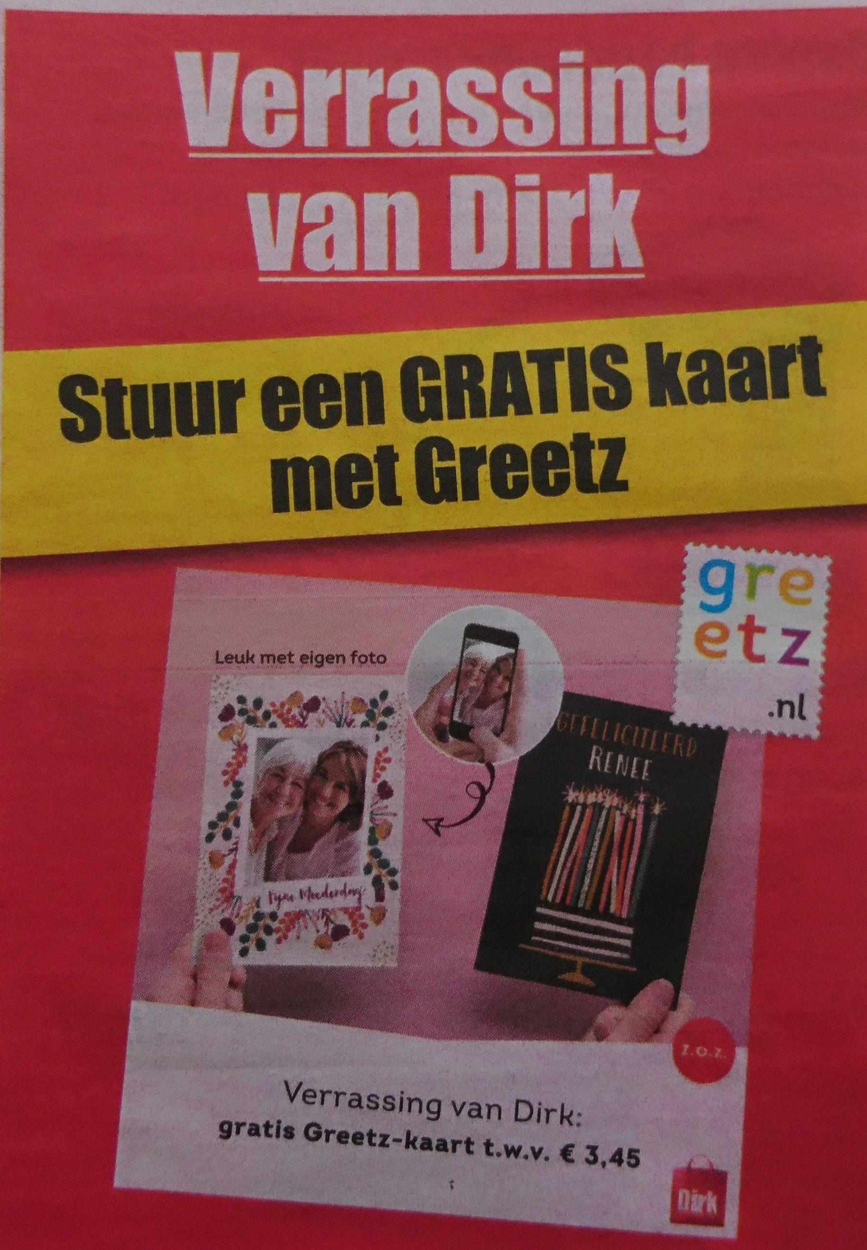 Gratis Greetz kaart twv €3,45 bij aankoop €10 bij Dirk
