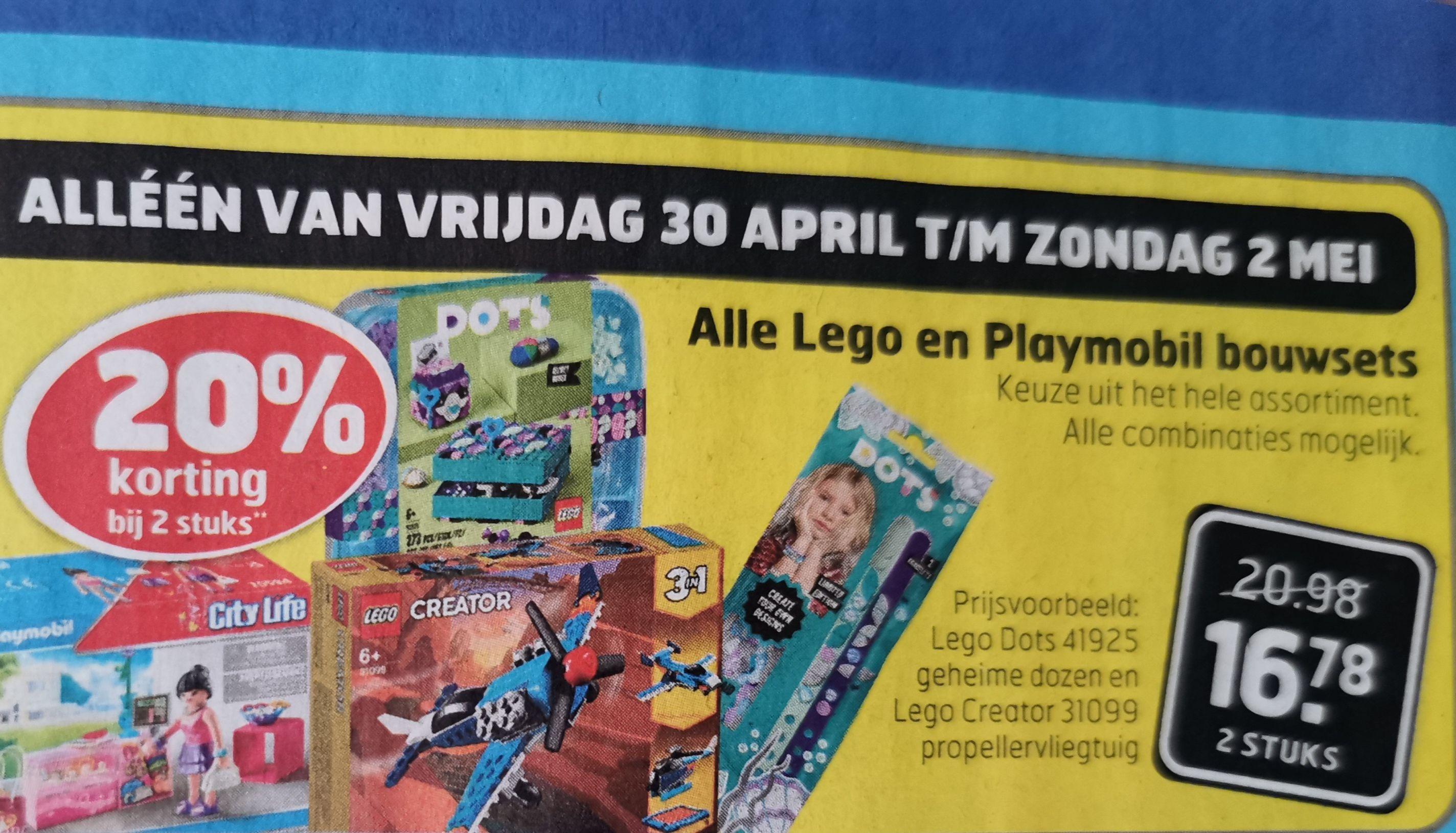 Alle LEGO en Playmobil bouwsets 20% korting