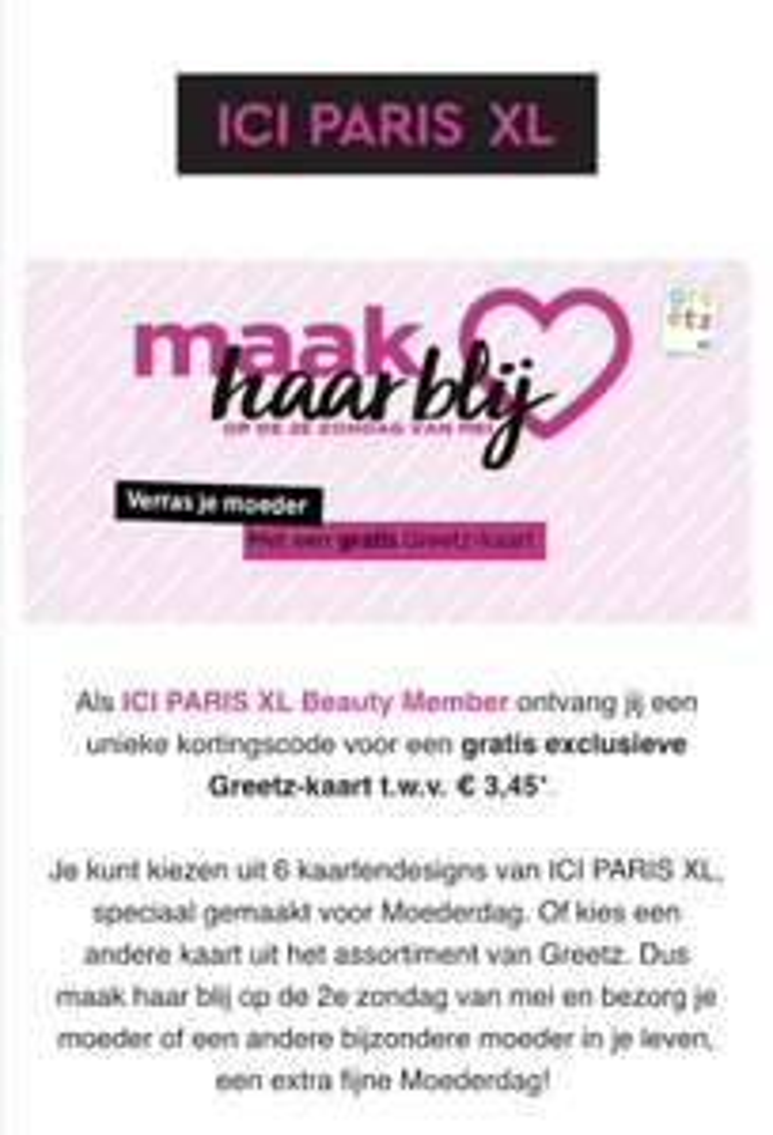 Gratis exclusieve Greetz-kaart t.w.v. €3,45 via ICI PARIS