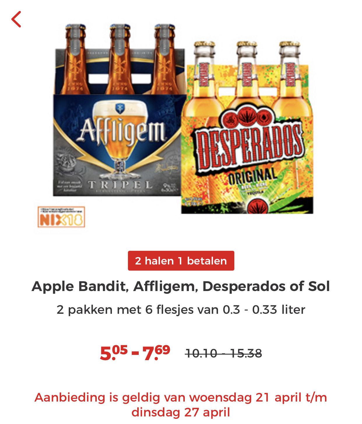 Alle Desperado, Affligem, Apple Bandit en Sol flesjes 6-pack 2=1