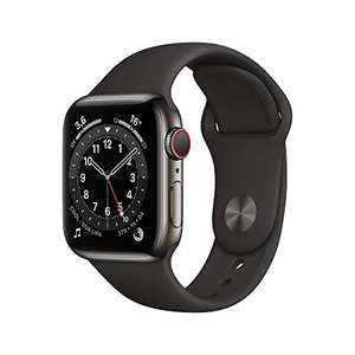 Apple Watch Series 6 (GPS + Cellular, 40 mm) RVS grafiet, zwarte sportband
