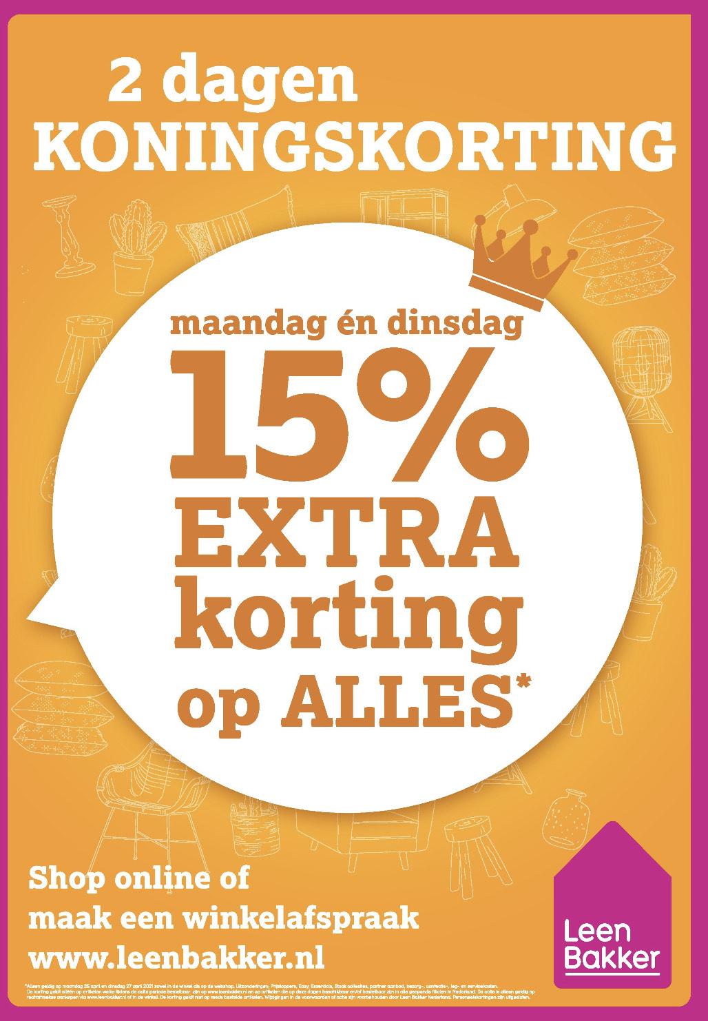 15% korting op ALLES @ Leenbakker
