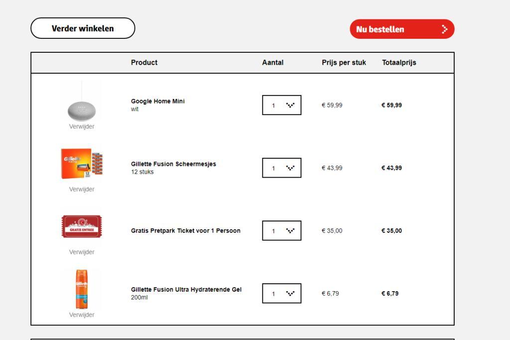 Gilette Fusion scheermesjes + Google Home Mini + gratis entree kaart