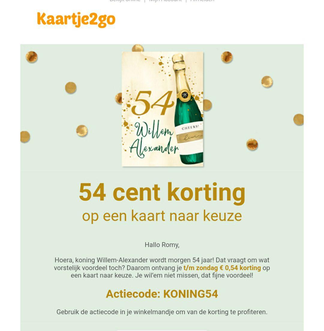 54 cent korting op een kaart bij Kaartje2go