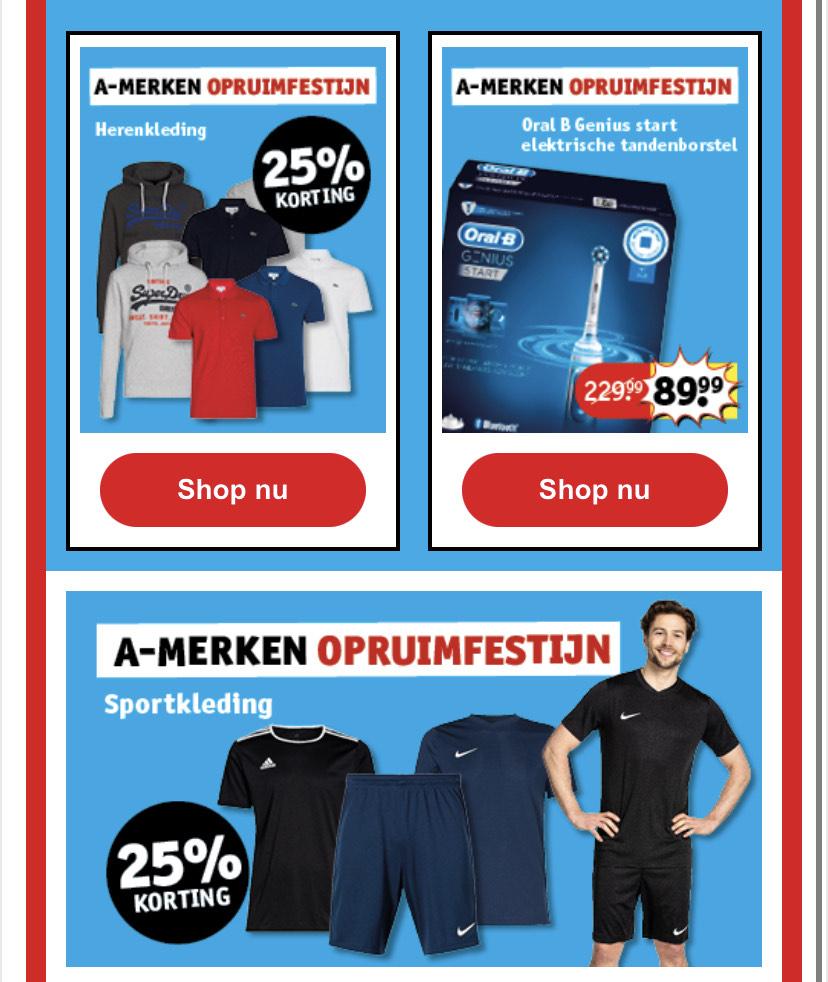 Kruidvat• 25% korting • (Nike, Tommy Hilfiger, Adidas & Lacoste)