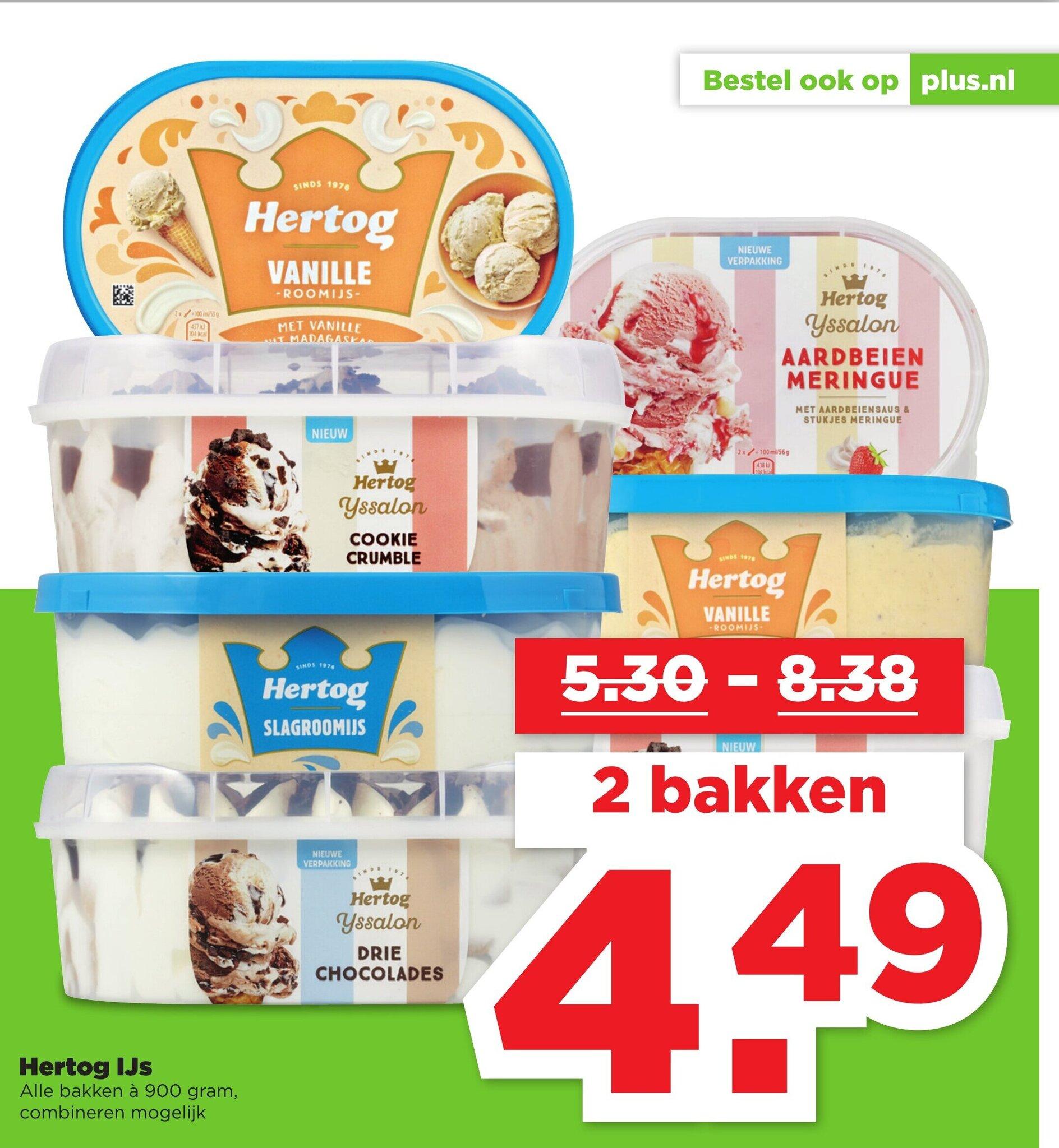 Alle smaken 900 ml Hertog IJs 2 voor €4,49 (€2,25 per pak) @ PLUS