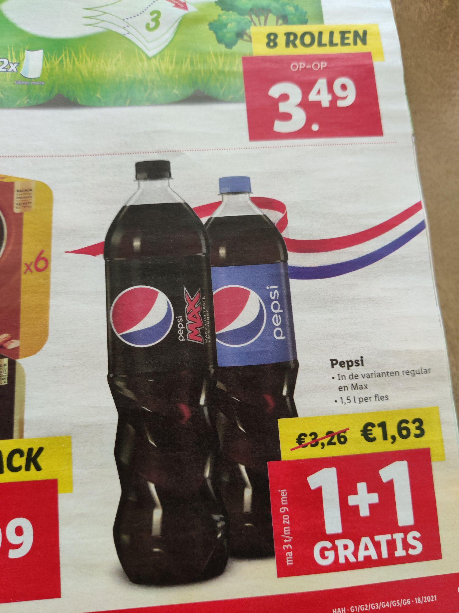 Pepsi 1+1 gratis bij Lidl vanaf 3 mei