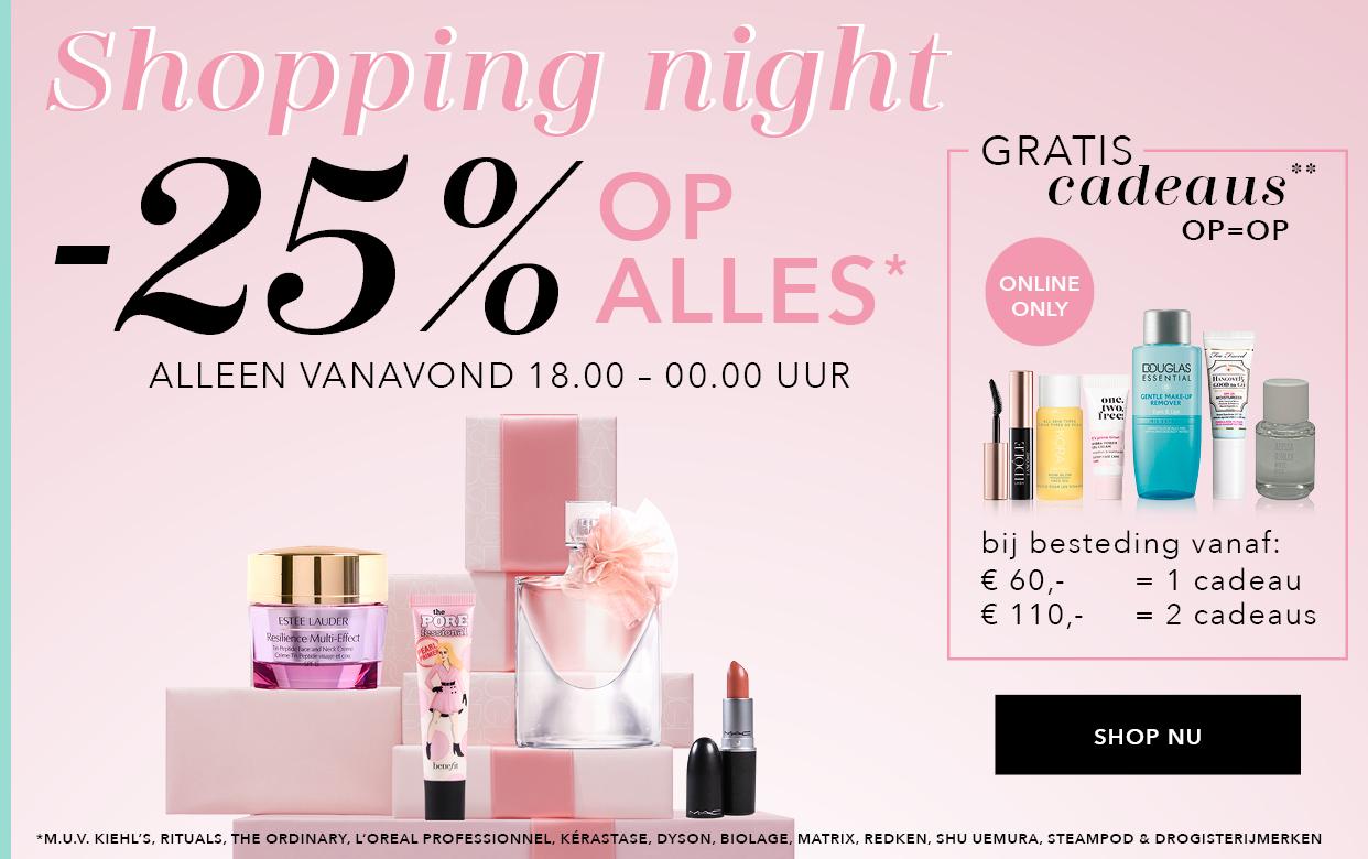 Vanaf 18u: Shopping Night = 25% korting @ Douglas