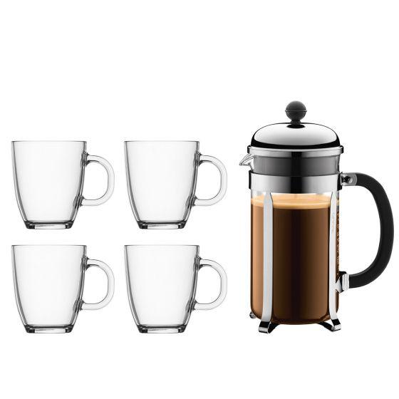 [Nu €31,45] Bodum Chambord cafetière + 4 Bistro koffiemokken 0,35L voor €35,95 incl. verzending @ Bodum