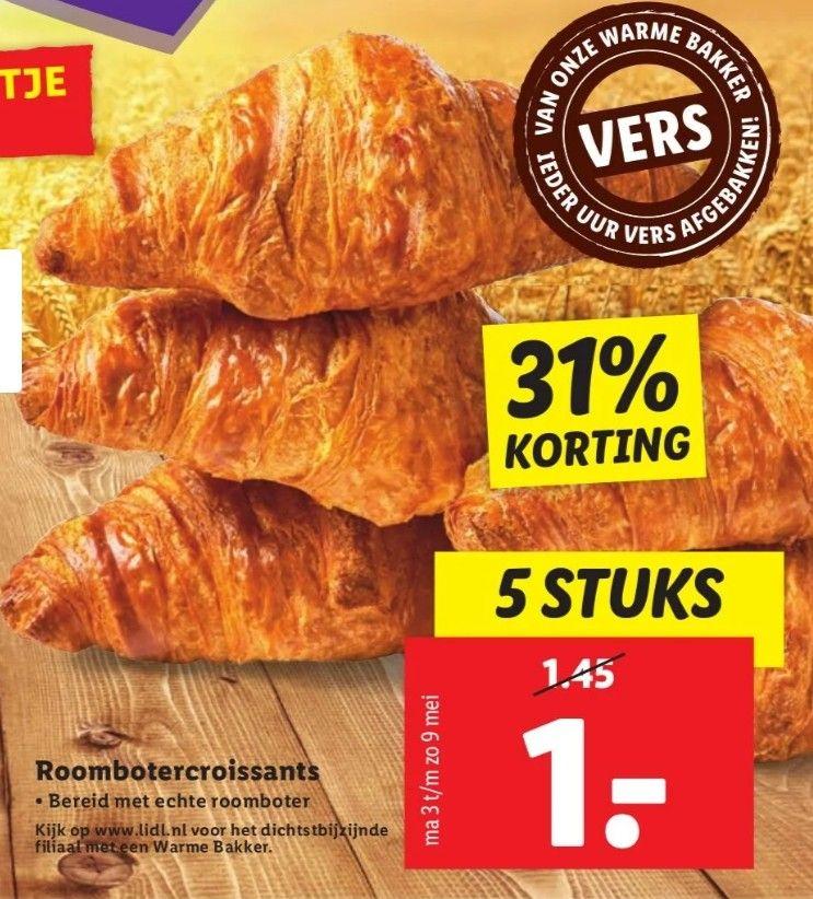 5 Ovenverse Roomboter Croissants voor €1 @ Lidl + Aldi