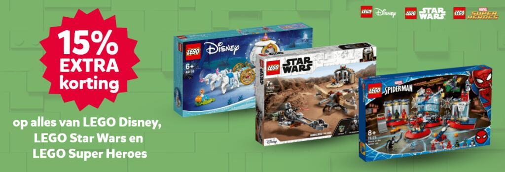 15% extra korting op alles van Lego Disney, Star Wars, Marvel en DC Comics bij Intertoys