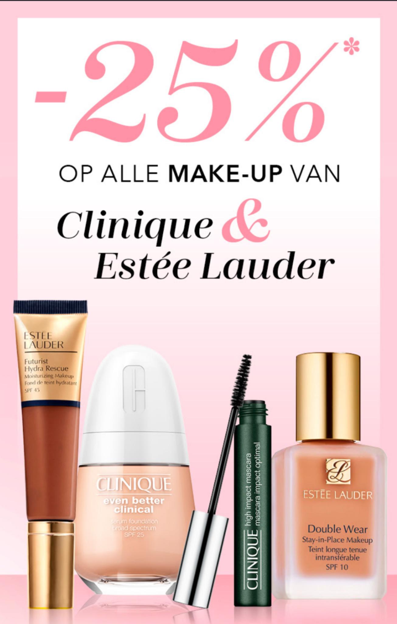 25% korting op alle make-up van Clinique en Estée Lauder @ Douglas