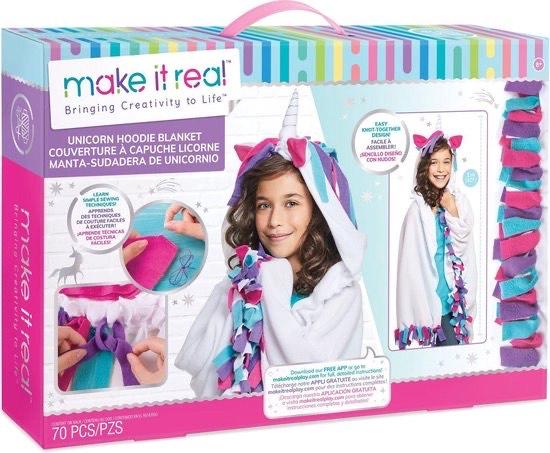 Make it real DIY Unicorn hoodie deken maken @ Intertoys