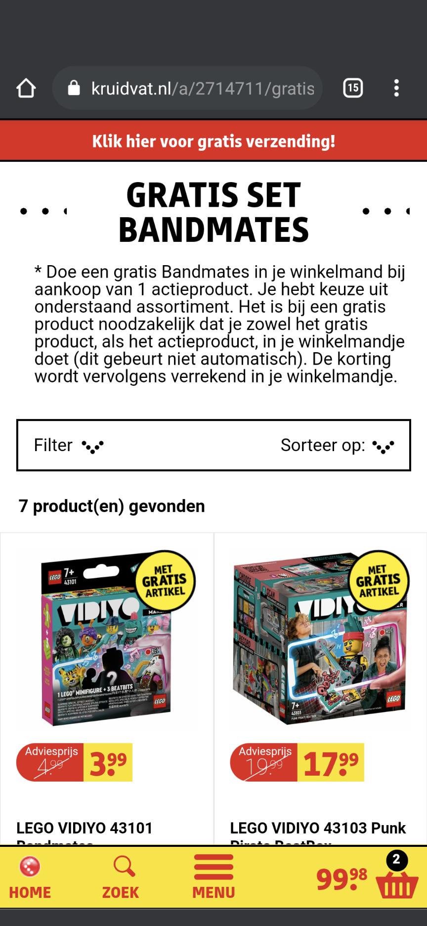Gratis Lego Vidiyo bandmate bij aankoop van Vidiyo Beatbox