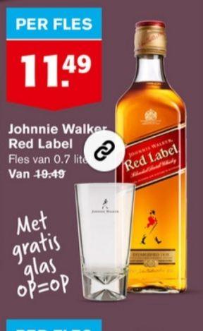 Hoogvliet Johnnie walker red label met gratis glas