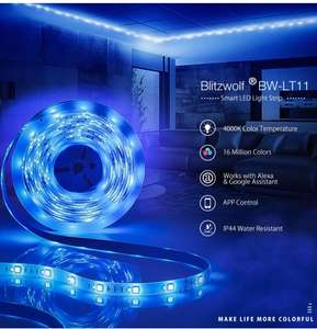 BlitzWolf® BW-LT11 5M Smart APP Control RGBW LED Light Strip Amazon Alexa Google