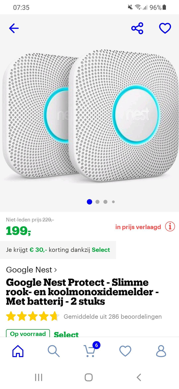(Select Deal) Google Nest Protect - Slimme rook- en koolmonoxidemelder (2 stuks)