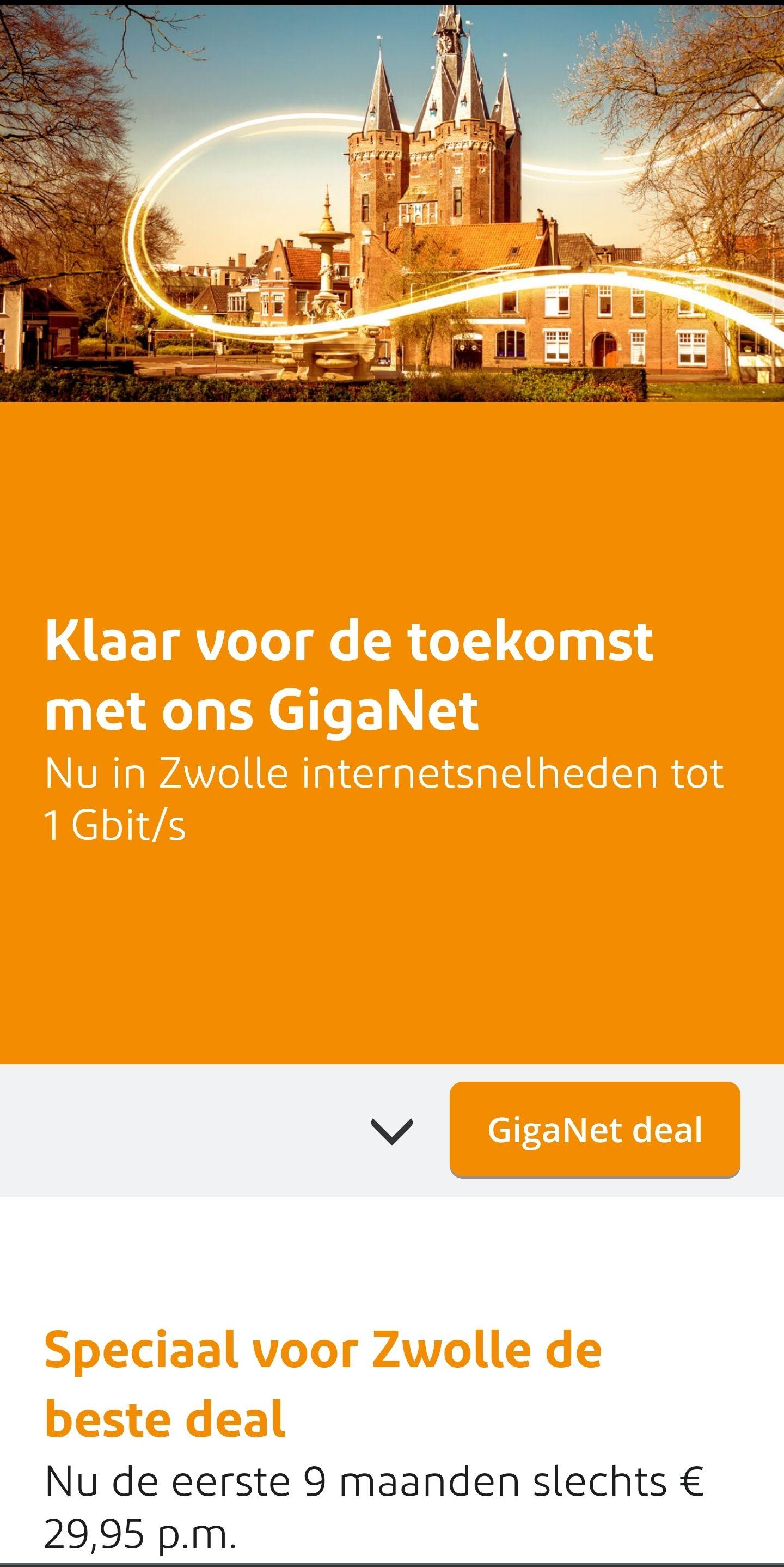 [Lokaal: Zwolle] Ziggo Giganet deal: 1Gbit/s 9 maanden voor €29.95, daarna €99.95