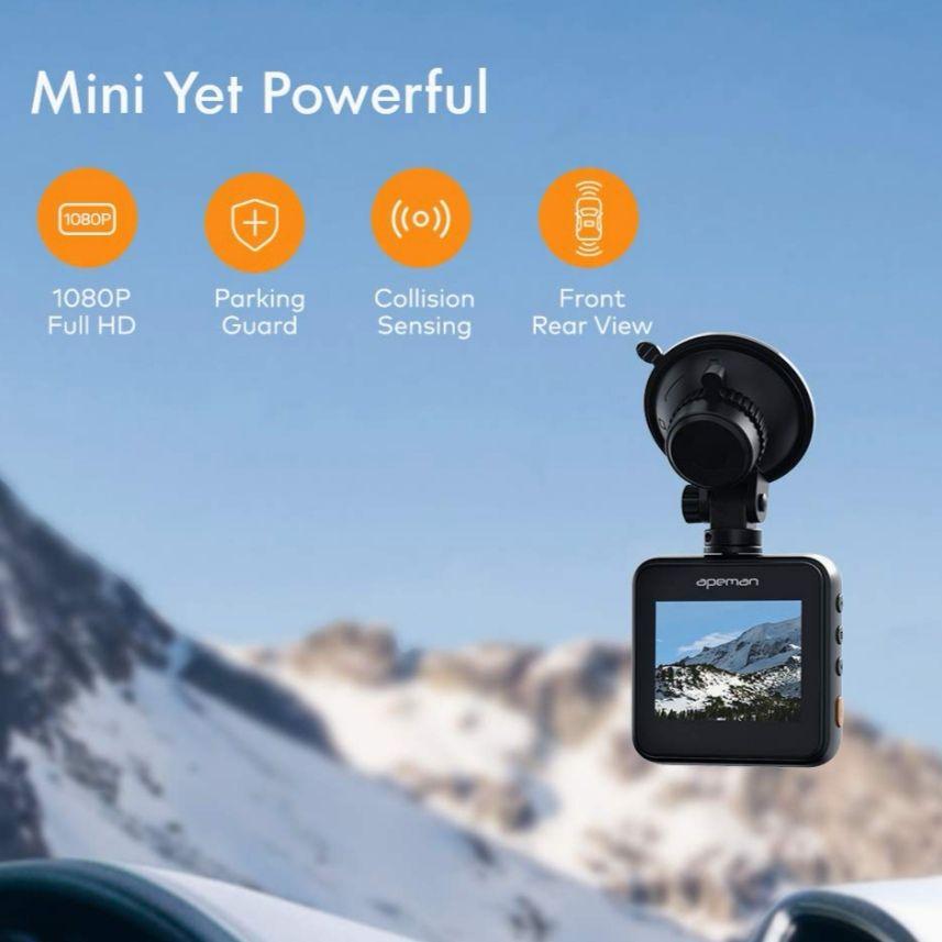 APEMAN 1080P Full HD Mini Dual dashcam 170°groothoek. Met nachtzicht, G-sensor, parkeerbewaking, lusopnamen en WDR