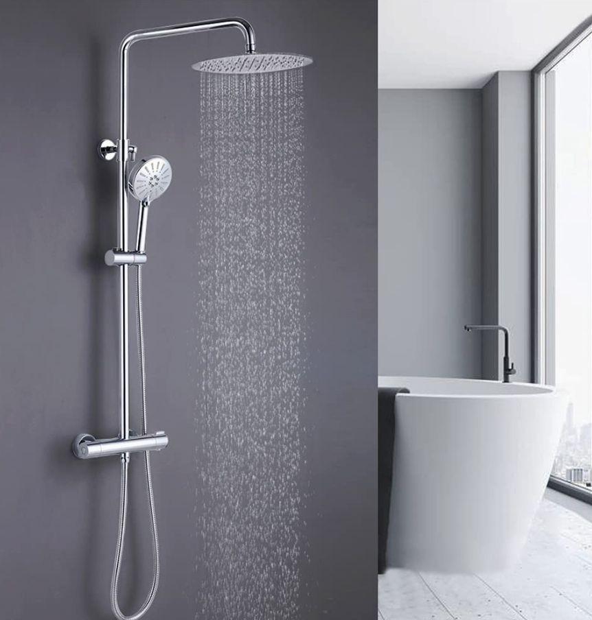 ONECE Douchesysteem met thermostaat, mengkraan, roestvrij staal+chroom, regendouche, handdouche, in hoogte verstelbare douchestang