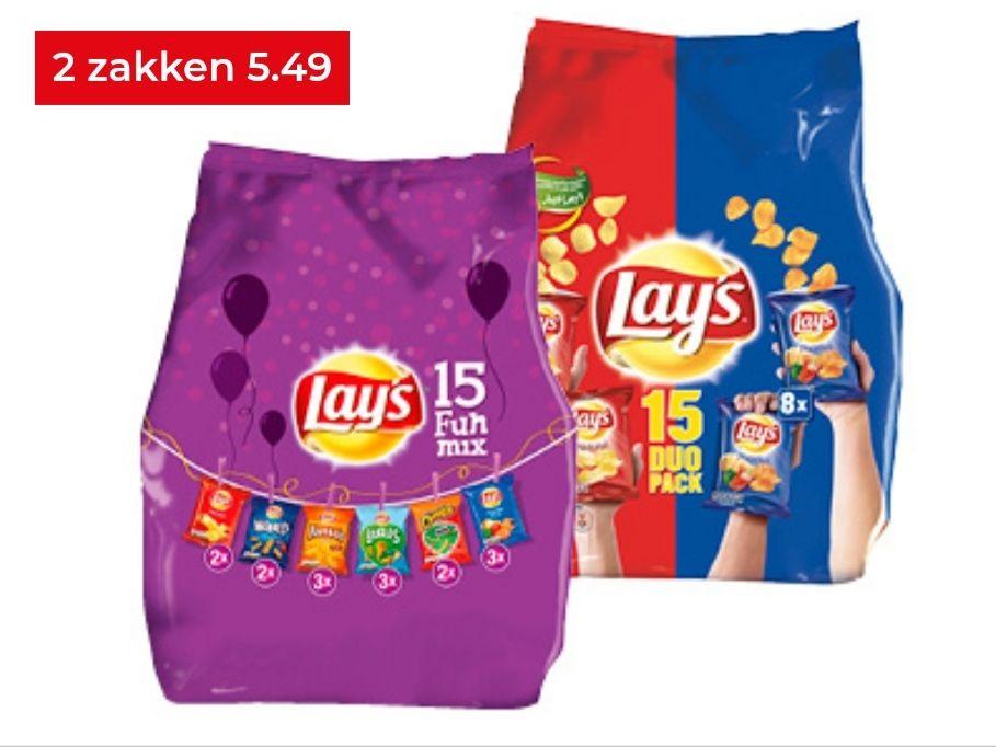 Hoogvliet Lay's multipacks 2 zakken met 15 stuks voor 5.49