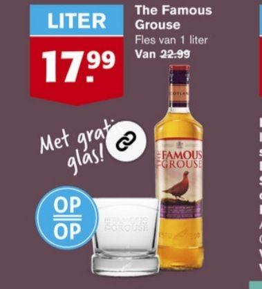 Hoogvliet The Famous Grouse 1 liter met gratis glas