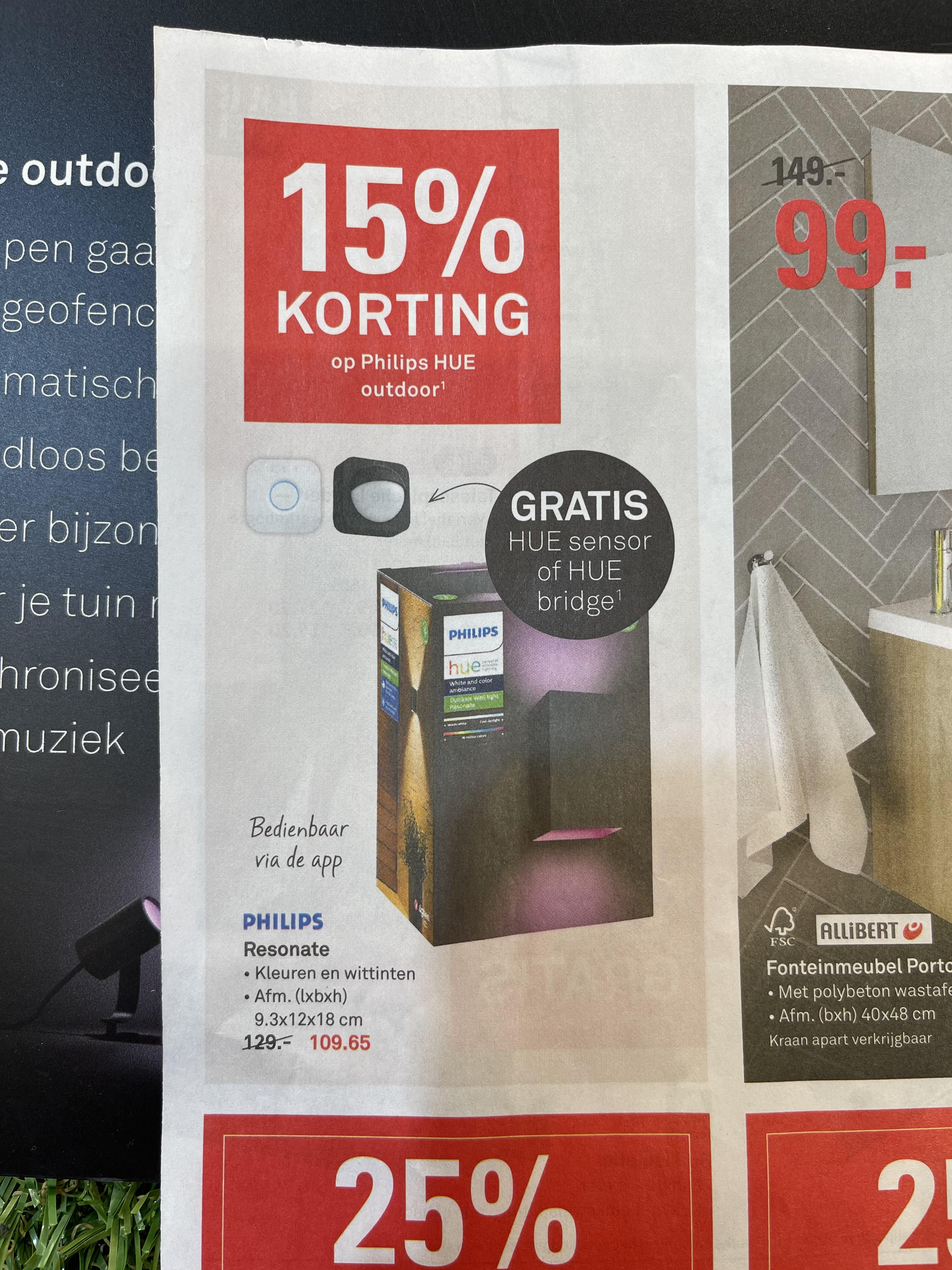 15% korting op Philips Hue outdoor bij de Karwei