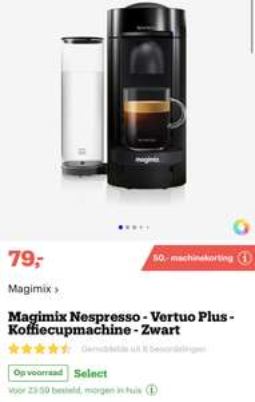[bol.com] Magimix Nespresso - Vertuo Plus - Koffiecupmachine nu €29