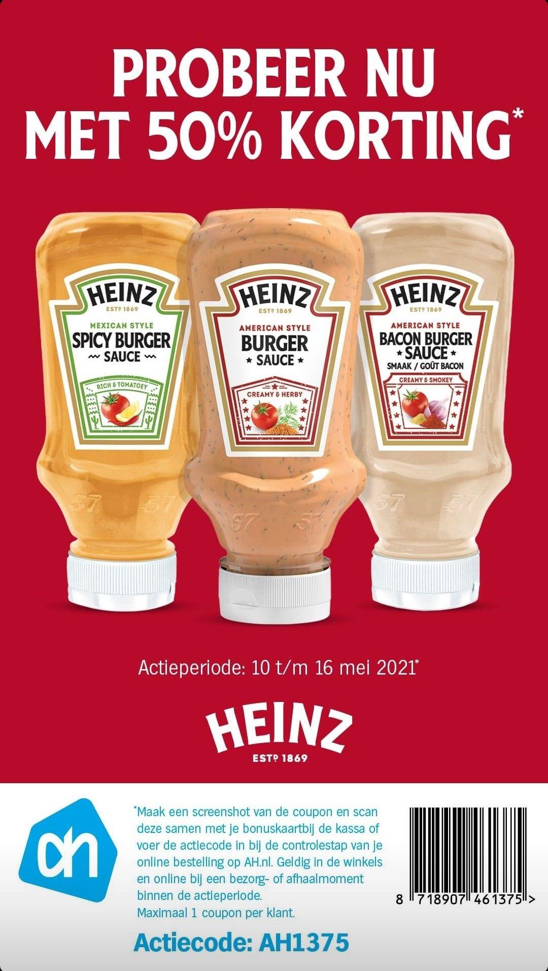 [Albert Heijn] Heinz burger saus 50% korting met barcode in foto