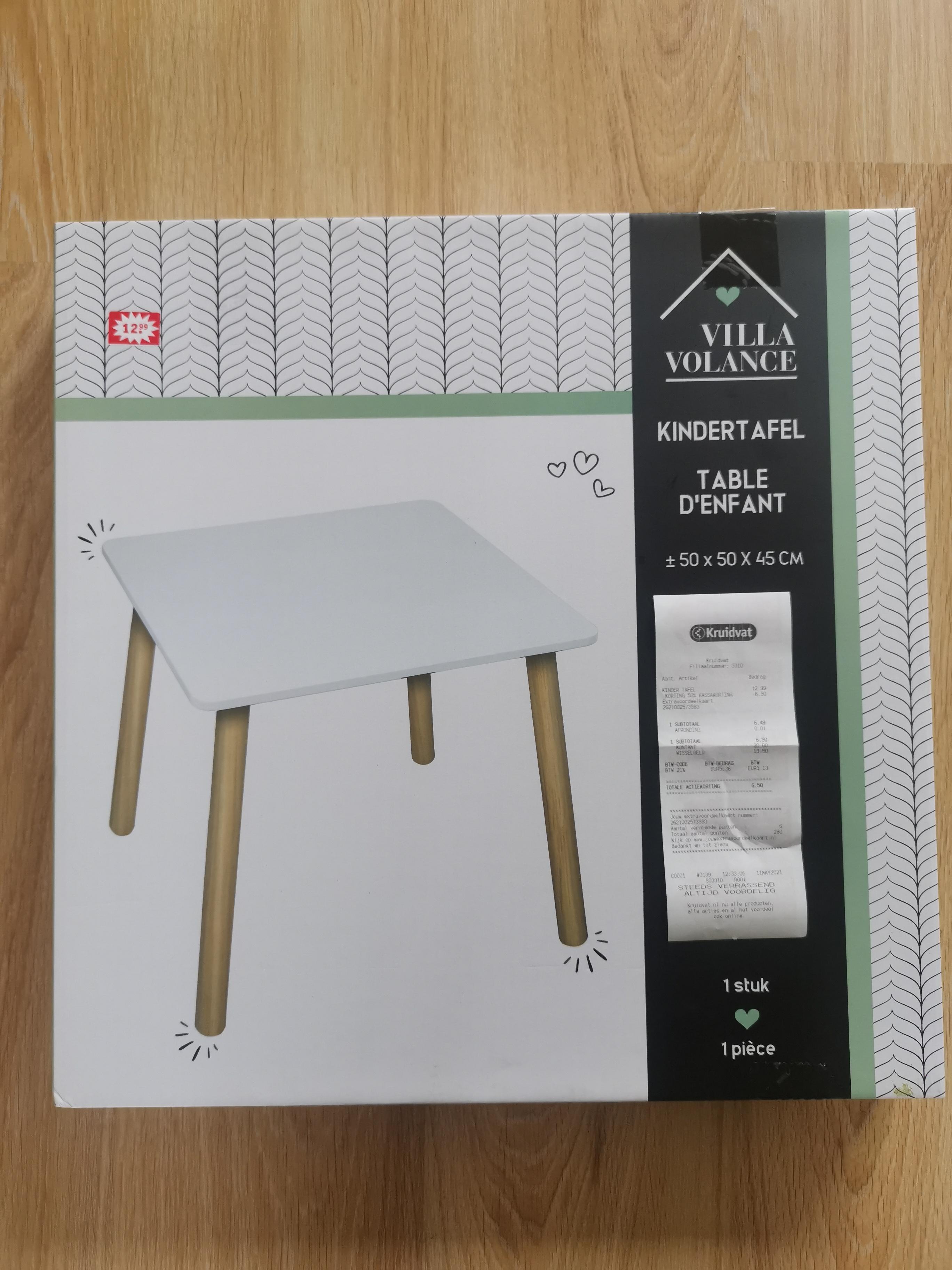 Kindertafel van Vila Vollance €6,49 @Kruidvat