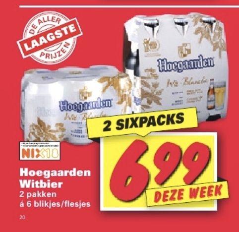 Twee sixpacks Hoegaarden voor €6,99