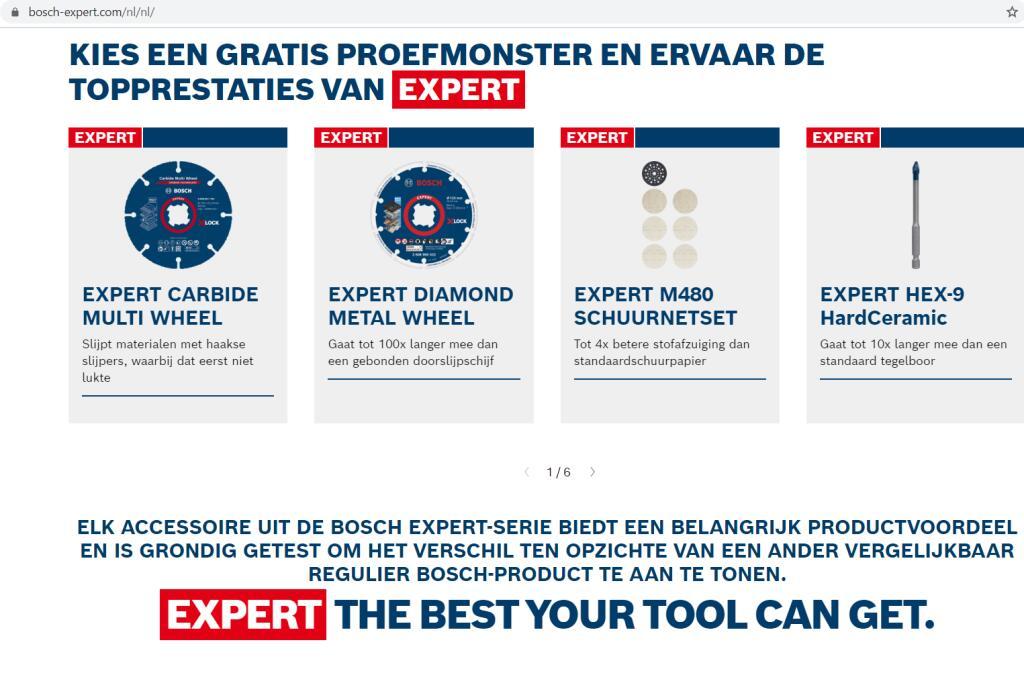 Gratis proefmonster van Bosch Expert