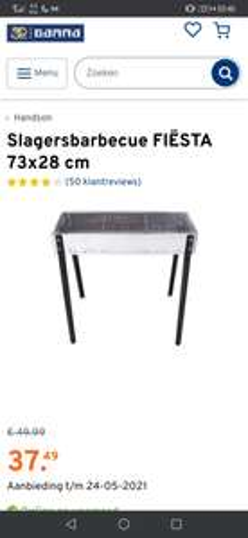 Slagersbarbecue(houtskool) FIËSTA 73x28 cm