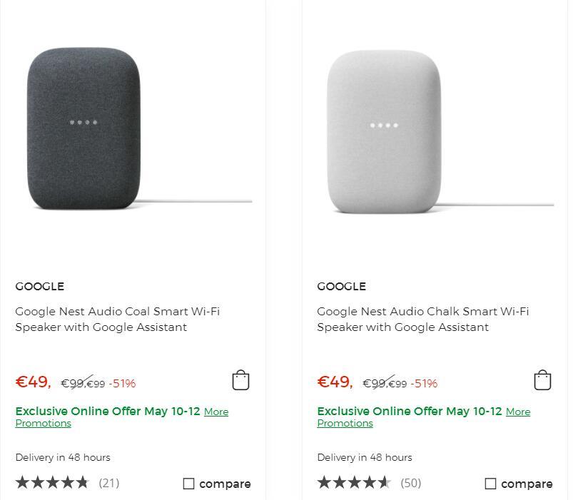 Google Nest Audio Smart Wi-Fi Speaker with Google Assistant Zwart of grijs.