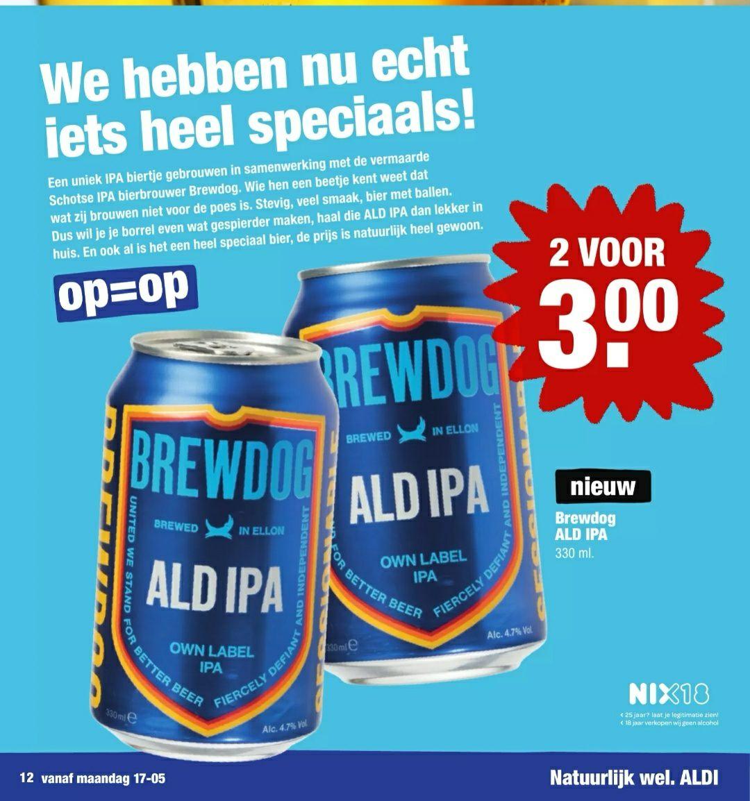 Brewdog Ald IPA 2 voor €3 bij Aldi
