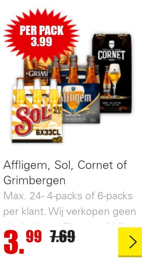 DIRK Affligem, Sol, Cornet of Grimbergen. 3.99! Max. 24- 4-packs of 6-packs per klant.