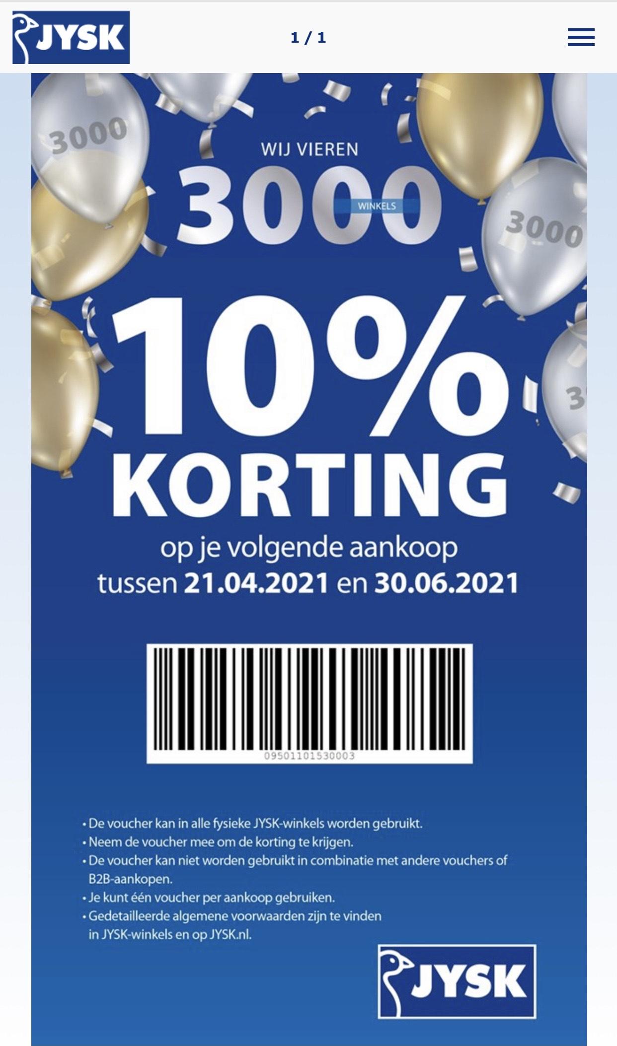 10% korting bij JYSK